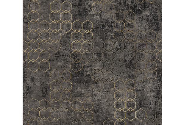 Livingwalls Vliestapete New Walls Tapete Urban Grace geometrisch metallic schwarz 374246 10,05 m x 0,53 m