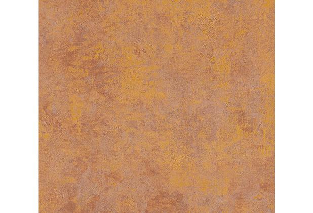 Livingwalls Vliestapete New Walls Tapete Urban Grace Vintage Uni Optik braun orange 374253 10,05 m x 0,53 m