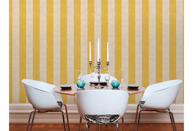 Livingwalls Vliestapete Paradise Garden Tapete mit Blockstreifen gelb braun 10,05 m x 0,53 m