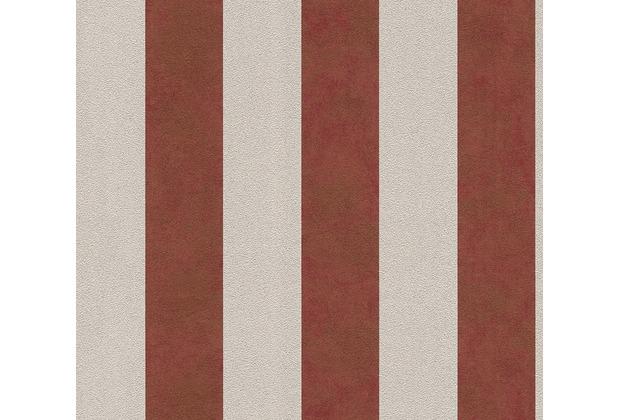 Livingwalls Vliestapete Trendwall Tapete mit Blockstreifen beige metallic rot 372715 10,05 m x 0,53 m