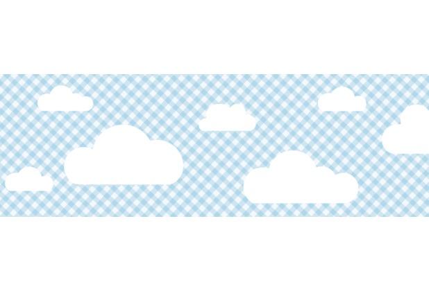 Lovely Label Selbstklebende Bordüre Wolken Blau kariert