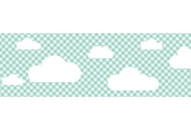 Lovely Label Selbstklebende Bordüre Wolken Mint kariert