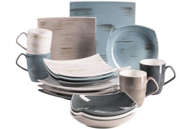 Mäser Derby Premium Geschirr-Set mit eckigen Tellern in Gastronomie-Qualität 16-teilig bunte Pastellfarben
