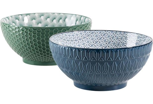Mäser Telde, Schüssel Set aus 2 großen Suppenschüsseln mit hübscher Relief-Oberfläche, Grün / Blau