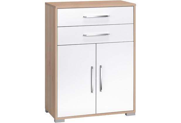 MAJA Möbel Aktenregal Edelbuche - weiß Hochglanz 2 Türen 2 Schubladen 800 x 1097 x 400 mm