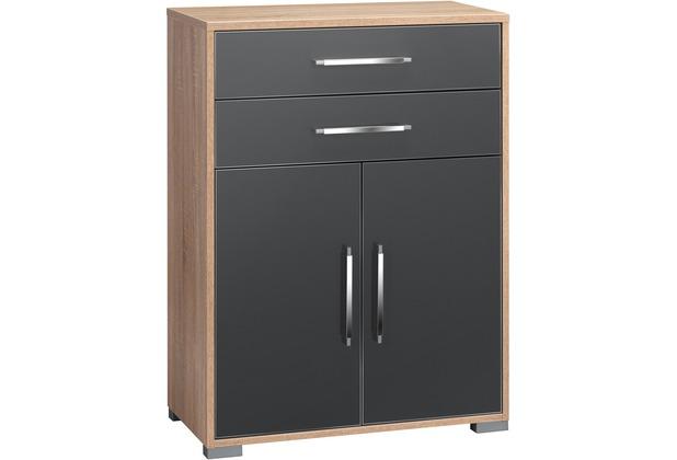 MAJA Möbel Aktenregal System Sets Sonoma-Eiche grau Hochglanz Typ II klein