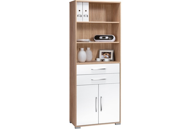 MAJA Möbel Aktenregal Sonoma-Eiche - weiß Hochglanz 800 x 2144 x 400 mm