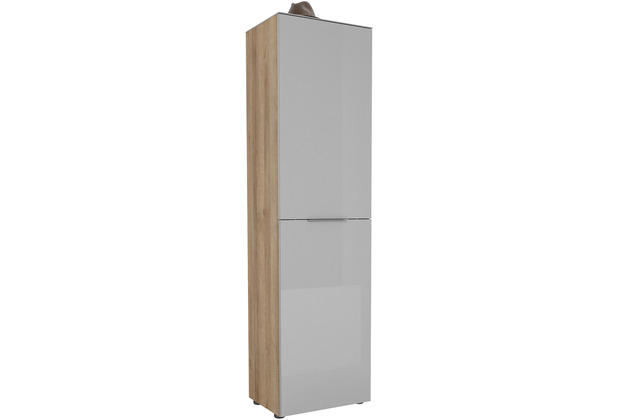 MAJA Möbel Garderobenschrank mit Glastop Trend Riviera Eiche Glas seidengrau Typ I