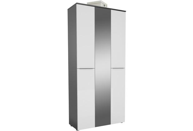 MAJA Möbel Garderobenschrank mit Holztop Trend anthrazit Weißglas Typ II