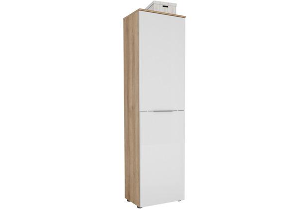 MAJA Möbel Garderobenschrank mit Holztop Trend Riviera Eiche Weißglas Typ I