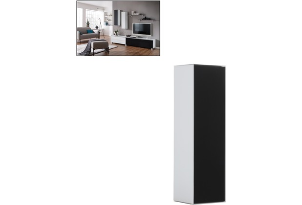 MAJA Möbel Soundconcept Hängeschrank Weißglas matt - Schwarzglas matt 250 x 900 x 250 mm
