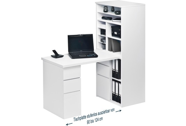 MAJA Möbel MINIOFFICE Icy-weiß - weiß Hochglanz 648 x 1500 x 1695 mm
