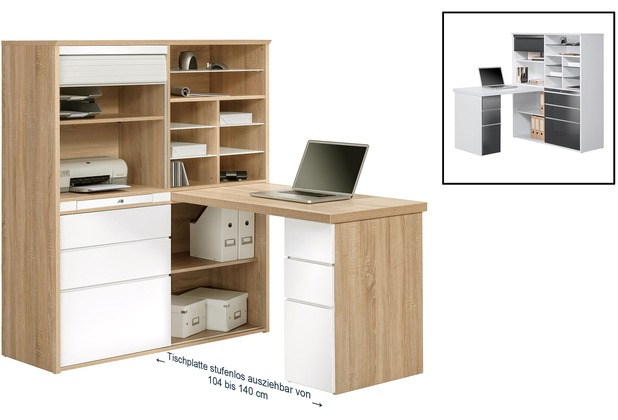 MAJA Möbel MINIOFFICE Sonoma-Eiche - weiß Hochglanz 1266 x 1500 x 1870 mm