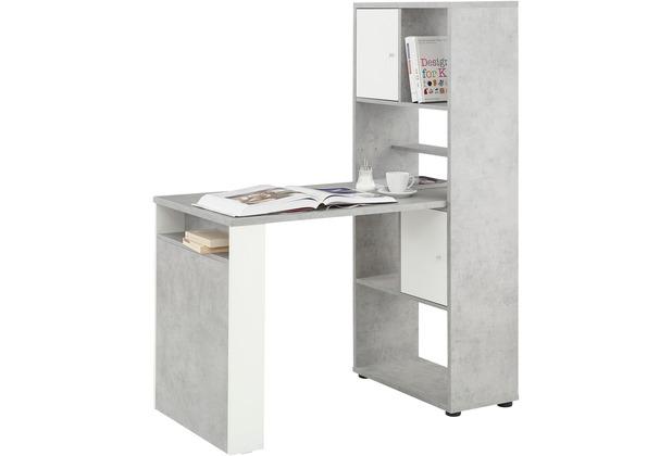 MAJA Möbel MINIOFFICE steingrau - weiß matt 648 x 1451 x 1141 mm