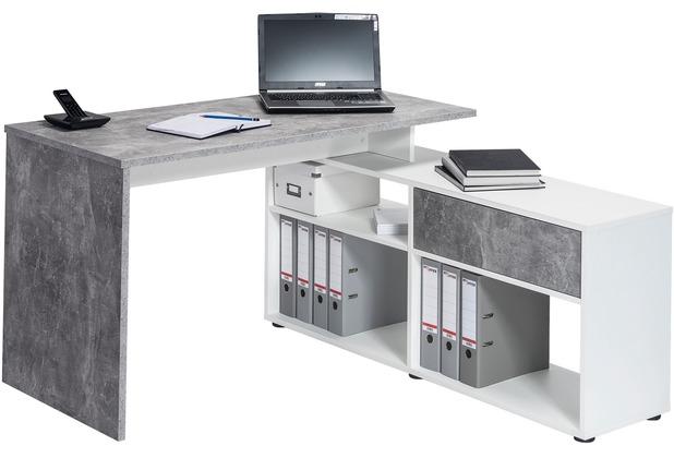 MAJA Möbel Schreib- und Computertisch betonoptik - Icy-weiß 1370 x 742 x 1300 mm