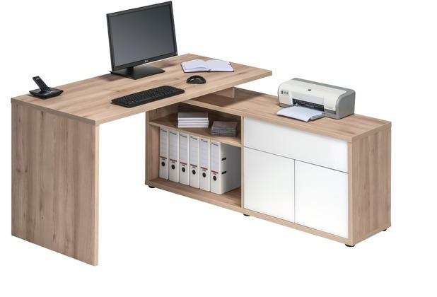 MAJA Möbel Schreib- und Computertisch OFFICE EINZELMODELLE Edelbuche - weiß Hochglanz 153 x 75 x 149 cm
