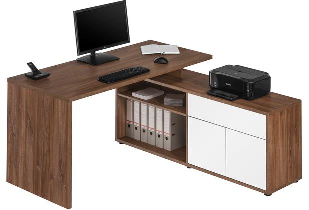 MAJA Möbel Schreib- und Computertisch OFFICE EINZELMODELLE Eiche dunkel - weiß Hochglanz 153 x 75 x 149 cm