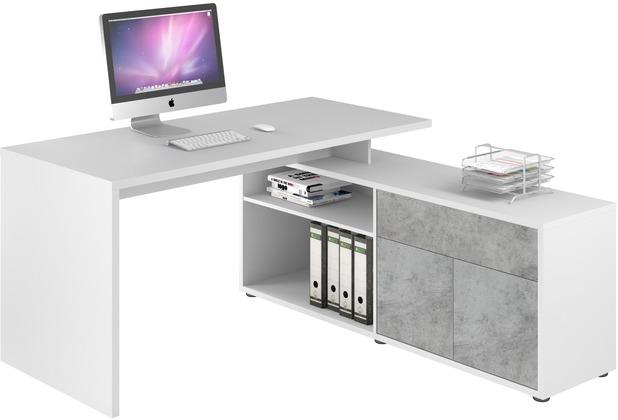 MAJA Möbel Schreib- und Computertisch OFFICE EINZELMODELLE Icy-weiß - steingrau 153 x 75 x 149 cm