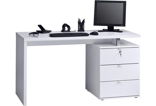MAJA Möbel Schreib- und Computertisch Icy-weiß - weiß Hochglanz 1400 x 750 x 600 mm