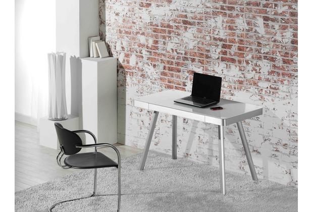 MAJA Möbel Schreib- und Computertisch Metall Alu - Weißglas 1202 x 730 x 600 mm