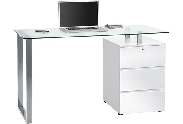 MAJA Möbel Schreib- und Computertisch OFFICE EINZELMODELLE Metall Chrom - weiß Hochglanz 130 x 75 x 60 cm