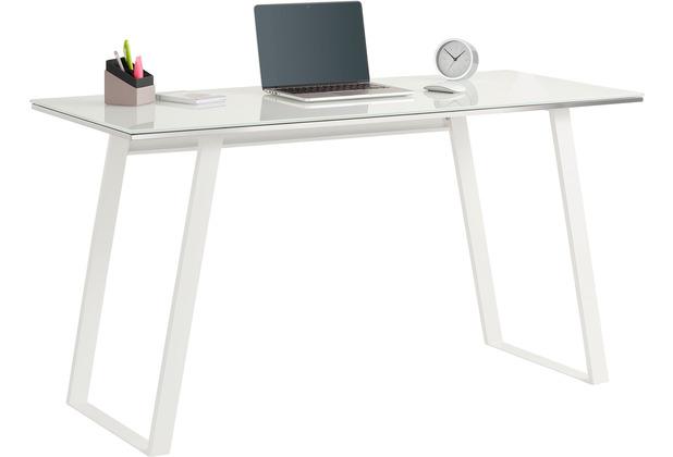 MAJA Möbel Schreib- und Computertisch Office Metall weiß Weißglas