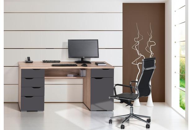 MAJA Möbel Schreib- und Computertisch OFFICE EINZELMODELLE Sonoma-Eiche - grau Hochglanz 160 x 74,5 x 67 cm