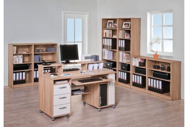 MAJA Möbel Schreib- und Computertisch Sonoma-Eiche - Icy-weiß 1411 x 1044 x 670 mm
