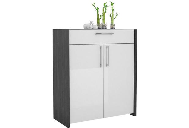 MAJA Möbel Schuhschrank Finis Ash-Oak Lack weiß Spiegelglanz Typ II