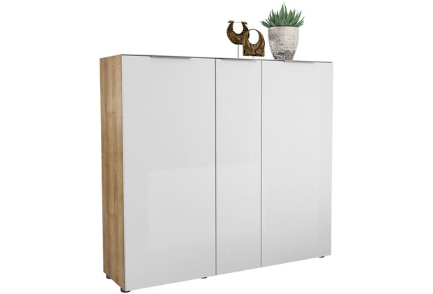 MAJA Möbel Schuhschrank mit Glastop Trend Riviera Eiche Weißglas Typ II