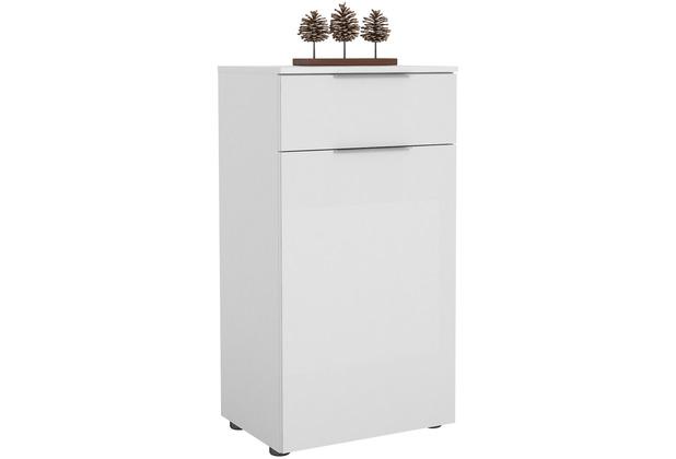 MAJA Möbel Schuhschrank mit Holztop Trend weiß matt Weißglas Typ II