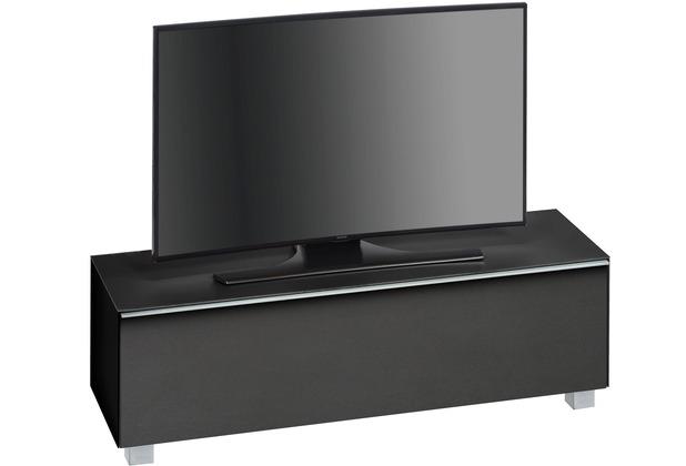 MAJA Möbel Soundboard SOUNDCONCEPT GLASS Schwarzglas matt - Akustikstoff schwarz 140,2 x 43,3 x 42 cm