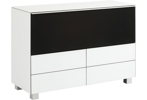 MAJA Möbel Soundboard Weißglas matt - Akustikstoff schwarz 1141 x 773 x 420 mm