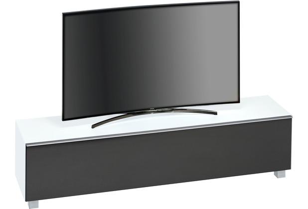 MAJA Möbel Soundboard SOUNDCONCEPT GLASS Weißglas matt - Akustikstoff schwarz 180,2 x 43,3 x 42 cm