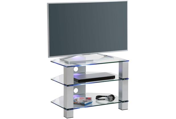 MAJA Möbel TV-Rack Metall Alu - Klarglas 700 x 500 x 500 mm