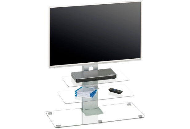 MAJA Möbel TV-Rack MEDIA MODELLE GLAS Metall Alu - Klarglas 90 x 95 x 40 cm