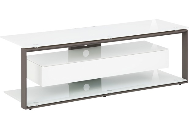 MAJA Möbel TV-Rack Metall anthrazit - Weißglas 1300 x 420 x 400 mm