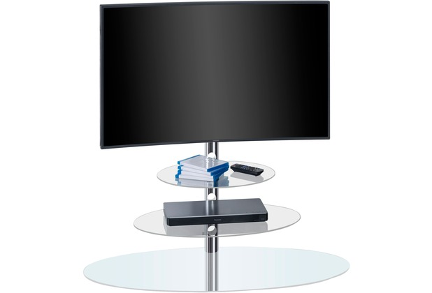 MAJA Möbel TV-Rack Metall Chrom - Weißglas 1100 x 1325 x 473 mm