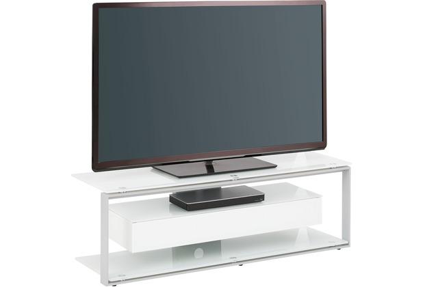 MAJA Möbel TV-Rack Metall platingrau - Weißglas 1300 x 420 x 400 mm