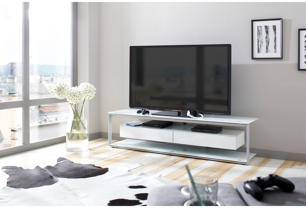 MAJA Möbel TV-Rack Metall platingrau - Weißglas 1700 x 420 x 400 mm