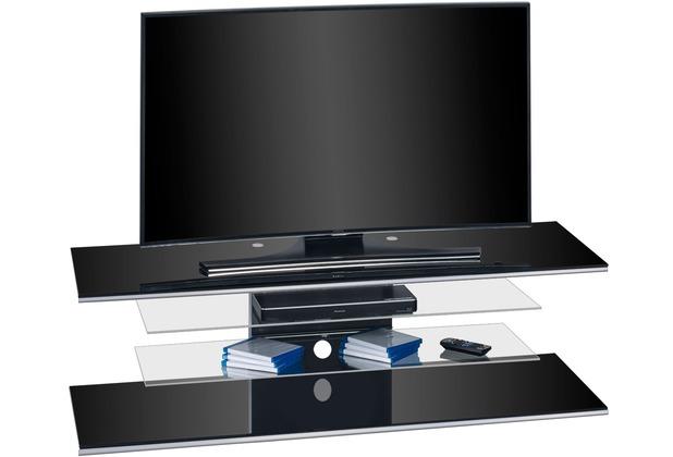 MAJA Möbel TV-Rack Schwarzglas 1400 x 402 x 450 mm