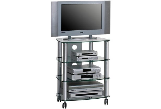 MAJA Möbel TV- und HiFi-Rack Metall Alu - Klarglas 600 x 744 x 465 mm