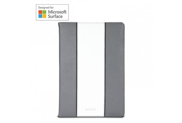 maroo Executive Folio Leder-Case für Microsoft Surface Pro 3 & Pro 4 grau/weiß