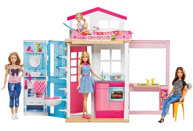 Barbie 2-Etagen Ferienhaus & Puppe