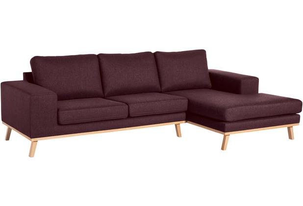 Max Winzer 2-Sitzer Sofa Alabama Burgund links mit Longchair rechts Alabama Flachgewebe burgund 268 x 152 x 85