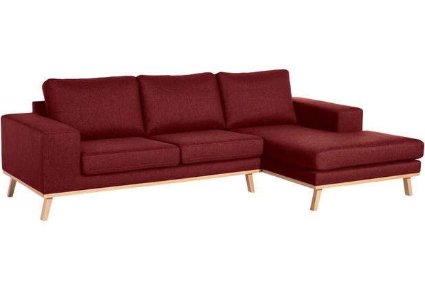 Max Winzer 2-Sitzer Sofa Alabama Rot links mit Longchair rechts Alabama Flachgewebe rot 268 x 152 x 85