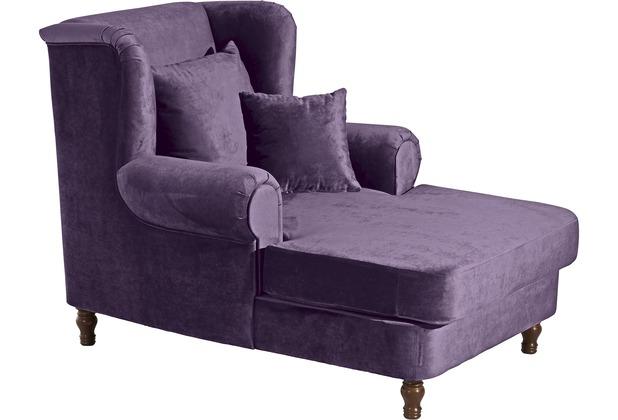 Max Winzer Big-Sessel inkl. 2x Zierkissen 55x55cm + 40x40cm Mareille Samtvelours dunkelviolett