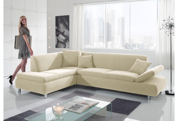Max Winzer Ecksofa links mit Sofa 2,5-Sitzer rechts Prag feines Strukturgewebe creme 272 x 189 x 76