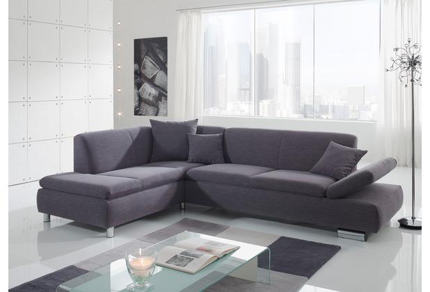 Max Winzer Ecksofa links mit Sofa 2,5-Sitzer rechts Terrence feines Strukturgewebe grau 270 x 190 x 76