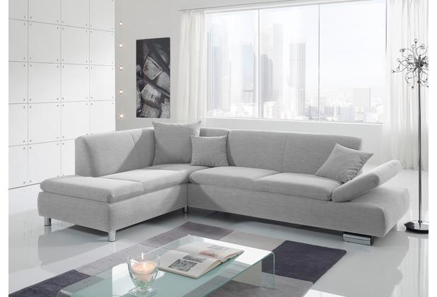 Max Winzer Ecksofa links mit Sofa 2,5-Sitzer rechts Terrence feines Strukturgewebe silber 270 x 190 x 76